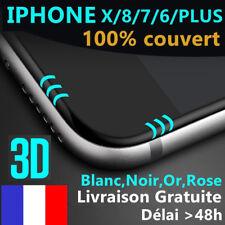 iPhone 6S/6/7/Plus 8/X VITRE EN VERRE TREMPE 3D Film Protection Ecran Intégral