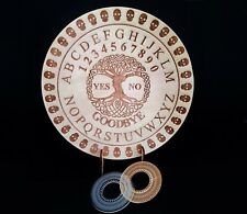 Round Wooden Spirit Ouija Board incl. Planchette. Celtic Tree of Life Board game