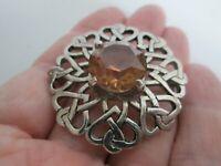 Vintage Signed JAF Scottish Celtic Knot Faceted Citrine Glass Pendant Brooch Pin