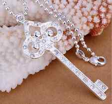 Fashion Lovely 925 Silver Plated love Key of heart crystal necklace key necklace