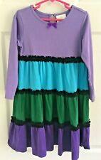 Girls Hanna Andersson HA Twirl Dress Purple Green Teal Long Sleeve Sz 110 5 6