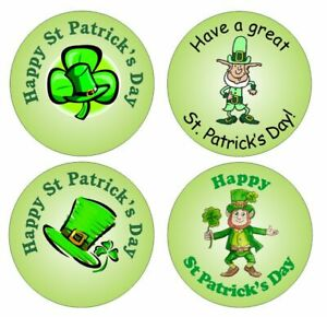 48 x 3cm circular St Patrick's Day stickers - various designs