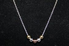 Giani Bernini Sterling Silver, 18k over SS Tri Tone Beaded Necklace NWT $100