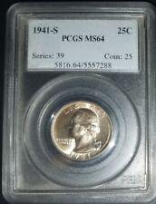 1941 S WASHINGTON QUARTER  PCGS MS64 - Silver Coin