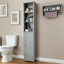 Colonial Bathroom Open 3 Shelf 1 Door Slim Tall Storage Unit Tong & Groove Grey