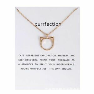 Purrfection necklace. PACKAGED CARD perfect gift Cat Lover Pressie Aussie Seller