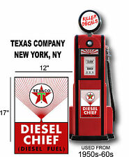 """17"""" 1950-60 TEXACO RED DIESEL FUEL GASOLINE DECAL OIL CAN/GAS PUMP/LUBSTER"""