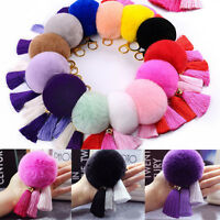 Fashion Tassel Rabbit Fur Ball PomPom Car Keychain Handbag Charm Key Ring Gift