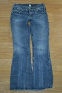 Silver Jeans Size 29x33 Boot Cut Stretch Destroyed Blue Pants Women's