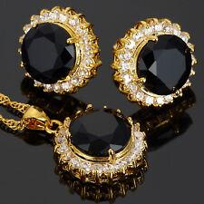 Black Onyx Round N Pendant Earrings Gemstone Gold Plated Jewellery Set