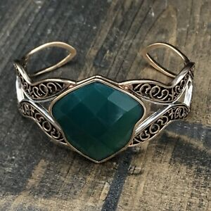 Barse Isabel Cuff Bracelet- Emerald Quartz- Copper & Sterling Silver- NWT