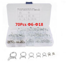 70Pcs Mixed Φ6-Φ18 Stainless Steel Car Double Wire Hose Spring Tube Clamps Kit