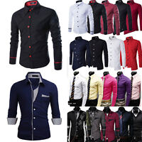 Men's Long Sleeve Shirts Casual Slim Fit Formal Dress T Shirt Top Party Fashion