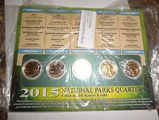 COIN LOT SET OF 5 NATIONAL PARK QUARTERS CLAD IN 24 KARAT GOLD HOMESTEAD SARATO