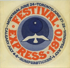 Janis Joplin Grateful Dead The Band 1970 Festival Express Promotional Sticker