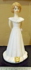 Vtg Enesco Growing Up Birthday Girl Age 13 Doll Pink Dress Brunette 1982 Vtg Euc