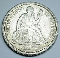 1873-P XF-AU Details U.S. Seated Liberty Dime Antique Old US Silver 10 Cent Coin