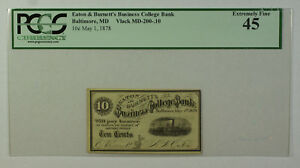 May 1 1878 10c Cent Obsolete Currency Eaton Burnett's Baltimore MD PCGS EF-45