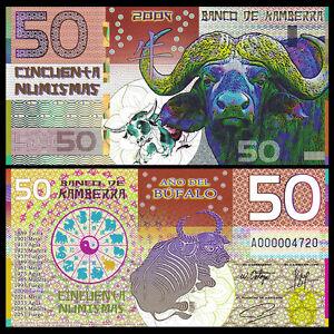 Kamberra 50 Numismas, Lunar Year 2009, Polymer note, UNC Ox(Bull)