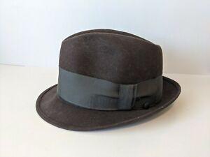 Vintage Champ Downtowner Brown Felted Fedora Hat Lined Men's Size 7 1/8