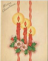VINTAGE CHRISTMAS RED CANDLES HOLLY BERRY ART NOUVEAU DECO HELLEBORE CARD PRINT