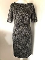 M&S Woman Animal Leopard Print Pencil Dress Size 14 Short Sleeves Wiggle Stretch