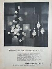 1957 Hamilton Watch Company Warmth Of Your Love Timepiece Original Ad