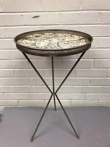 "MID CENTURY MODERN VINTAGE METAL 3 LEG SIDE TABLE PLANT STAND 22 3/4 TALL X 12"""