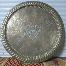 Handmade Antique Damascus sterling silver Engraved Copper TRAY 70cm