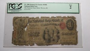 $1 1865 Warren Rhode Island RI National Currency Bank Note Bill #1008 Ace!