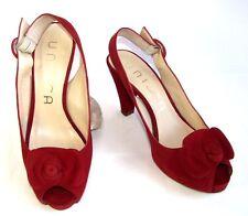 UNISA sandales talons & petit plateau tout cuir velours rouge 38 EXCELLENT ETAT