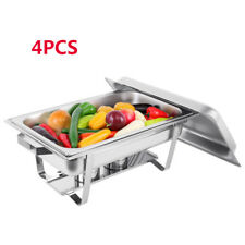 4 X 9L Chafing Dish Sets Buffet Caterings Stainless Steel  W/Tray Folding Chafer