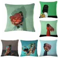 Character Flower Cotton Linen Throw Pillow Case Sofa Cushion Cover Home Decor