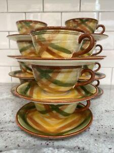 Vintage Vernon Kilns Vernonware Homespun Cup and Saucer Set.