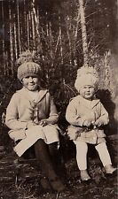 Antique Photograph Two Adorable Little Girls Wearing Great Hats in Yard