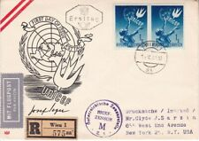 1949 Austria FDC #559(2) Registered & Censored  to US;Map, UNICEF topical  *d