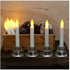 Set 12 Flameless Amber LED Flickering Candles Home Romantic Holiday Light Decor