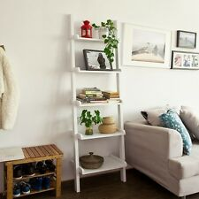 SoBuy® Modernes Leiterregal mit fünf Böden,Standregal,Wandregal,weiß,FRG17-W