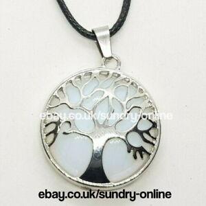 Tree of Life Opal Healing Stone Necklace Pendant Chakra Yoga Opalite Moonstone
