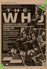 Who The Birmingham International concert Advert NME Cutting 1982