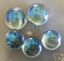 Vintage Italian Murano Blue Luster Silver Foil Large Round Lentil Glass Bead Lot