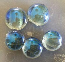 Vintage Italian Murano Blue Luster Silver Foil Large Round Lentil Glass Bead Lot