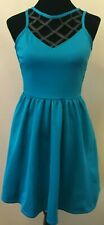 Material Girl Womens Fit & Flare Dress Small Blue Faux Leather Trim Sleeveless