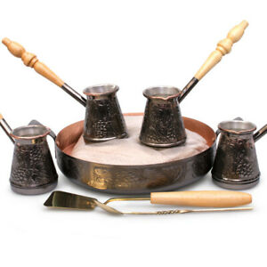 4 Cezve Turka Ibrik w/ Hearth & Sand Turkish Coffee Set Made in Russia