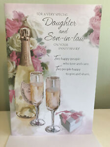 """DAUGHTER And SON -IN-LAW WEDDING ANNIVERSARY CARD. 9""""by 6"""" Large Card. Trad."""