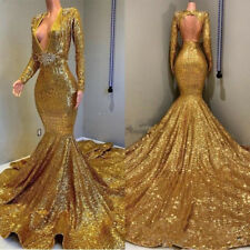 Sexy Deep V Neck Mermaid Evening Party Gowns Charming Gold Sequined Prom Dresses