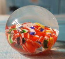 BEAUTIFUL CANDY CRUSH CANE MILLEFIORI MINIATURE GLASS ART PAPERWEIGHT