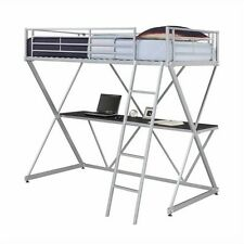 DHP X Shaped Metal Twin Loft Bed Bunk Beds in Silver with Desk
