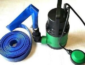 250W GREEN SUBMERSIBLE WATER PUMP WITH FLOAT SWITCH 10M x 25mm HOSE & 2 CLIPS