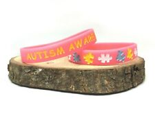 Autism Awareness Wristband Pink Silicone Band Bracelet Ladies Womens Autistic